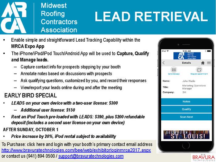 Mrca Exhibitor Toolkit Flier For Lead Retrieval